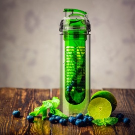 Eko fľaša s filtrom na ovocie 800ml (zelená)