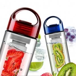 Zdravá fľaša na vodu s filtrom na ovocie (červená)