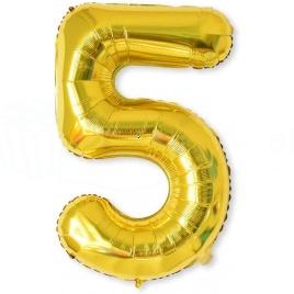 Balón XL čísla - zlatá 5