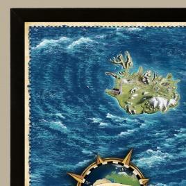 Zarámovaná mapa EURÓPY - čierny rám - zlatá
