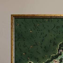 Zarámovaná mapa Slovenska - zlatý rám