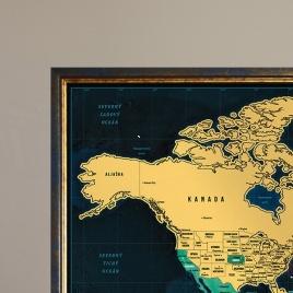 Zarámovaná mapa SVETA - modrý rám