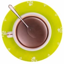 Hodiny káva s lyžičkou (zelené)
