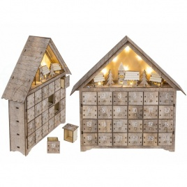 Adventný kalendár z dreva s LED podsvietením