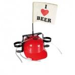 Pivná helma - Milujem pivo (červená)