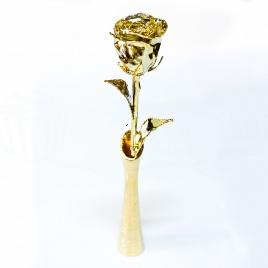 Pozlátená ruža s vázou - čierna krabička