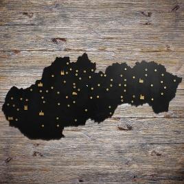 Drevená mapa Slovenska - čierna