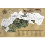 Stieracia mapa Slovenska DELUXE XL - strieborná