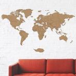 Drevená mapa na stenu hnedá