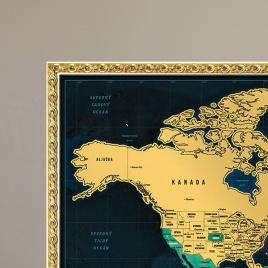 Zarámovaná mapa SVETA - deluxe rám