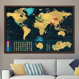 Zarámovaná mapa SVETA - hnedý rám