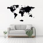 Luxusná drevená mapa na stenu XL - čierna
