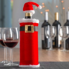 Vianočný oblek na fľašu s čiapkou