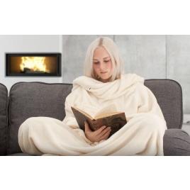 TV deka s rukávmi - smotanová