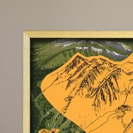 Zarámovaná mapa Tatier - natur rám