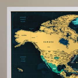Zarámovaná mapa SVETA - biely rám