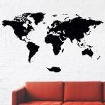 Drevená mapa na stenu čierna