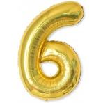 Balón XL čísla - zlatá 6