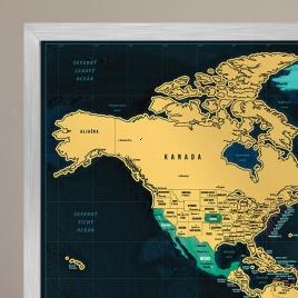 Zarámovaná mapa SVETA - strieborný rám