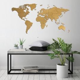 Drevená mapa na stenu hnedá - MINI