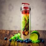 Eko fľaša s filtrom na ovocie 800ml (červená)