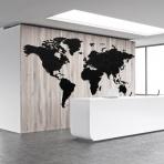 Luxusná drevená mapa na stenu XXXXL čierna