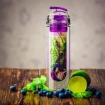 Eko fľaša s filtrom na ovocie 800ml (fialová)