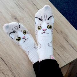 Ponožky mačička - béžové