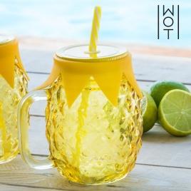 Smoothie pohár s viečkom a slamkou - Ananás
