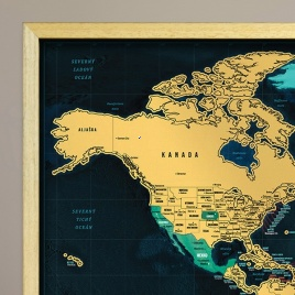 Zarámovaná mapa SVETA - natur rám
