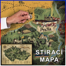 Stieracia mapa Česka DELUXE XL - zlatá