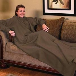 TV deka s rukávmi - hnedá
