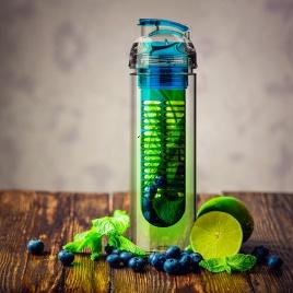 Eko fľaša s filtrom na ovocie 800ml (modrá)