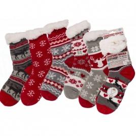 Teplé ponožky - vianočné  - extra hrubé