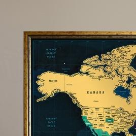 Zarámovaná mapa SVETA - zlatý rám