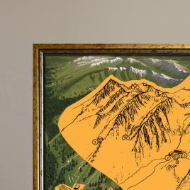 Zarámovaná mapa Tatier - zlatý rám