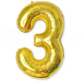 Balón XL čísla - zlatá 3