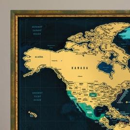 Zarámovaná mapa SVETA - zelený rám