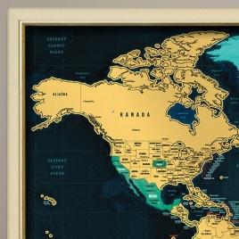 Zarámovaná mapa SVETA - smotanový rám