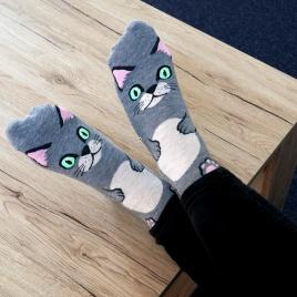 Ponožky mačička - šedé