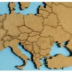 Luxusná drevená mapa na stenu XL - hnedá