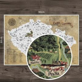Stieracia mapa Česka DELUXE XL - strieborná