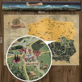 Stieracia mapa Poľska DELUXE XL - zlatá
