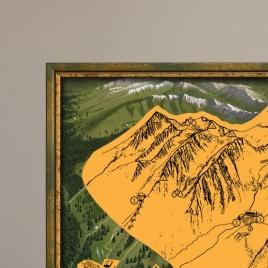 Zarámovaná mapa Tatier - zelený rám