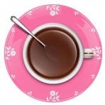 Hodiny káva s lyžičkou (ružové)