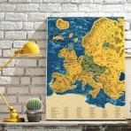 Stieracia mapa Európy - Zlatá DELUXE XL