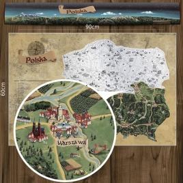 Stieracia mapa Poľska DELUXE XL - strieborná